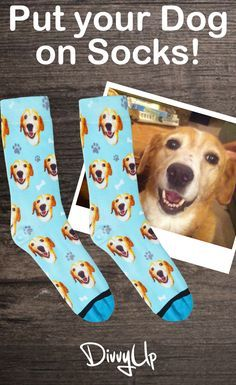 Put your dog on socks! Upload a picture of your dog and our designers handle the rest. Give a personal DIY gift this Christmas, Birthdays, or any Holiday with DivvyUp's custom dog socks. (Yes, we do puppies and cats)