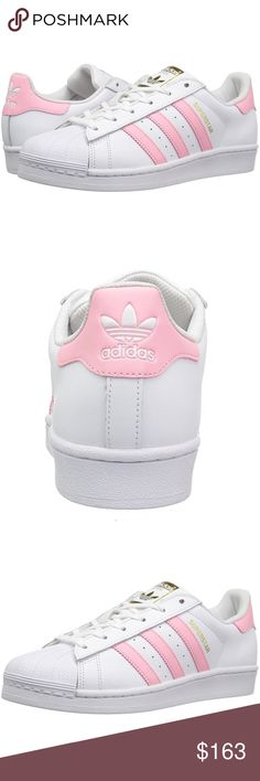 Adidas Superstar W Fashion Sneaker Own a classic and cheer it up with some pink and gold!!!  brand new with box • leather • rubber sole • retro-styled lace-up fashion sneaker featuring classic three-stripe detailing and heritage shell toe • removable insole • mesh lining • size runs big (if you're an 8, this should fit you just fine) Adidas Shoes Sneakers