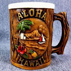 Aloha Hawaii Island View Coffee Mug Cup Pineapple Sail Boat Orchid Palm Tree