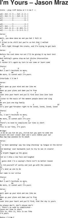 I'm Yours - Jason Mraz ukulele tabs Ukulele Tuning, Cool Ukulele, Guitar Chords For Songs, Music Chords, Lyrics And Chords, Guitar Songs, Im Yours Ukulele Chords, Mandolin Songs, Ukulele Tabs Songs