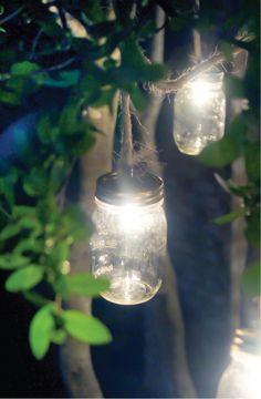 Mason Jar Lights for backyard parties. I want this in my backyard! Backyard Lighting, Outdoor Lighting, Lighting Ideas, Party Lighting, Mason Jar Crafts, Mason Jars, Pot Mason, Outdoor Fun, Outdoor Decor