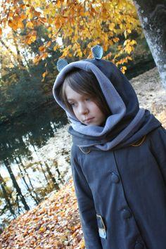 Manteau Céphée avec une capuche écharpe à oreilles