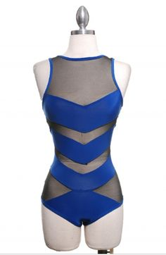Royal Blue Mesh Insert Bodysuit , $29.99 by Tanny's Couture LLC