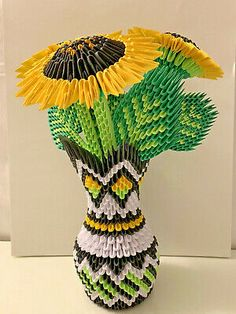 3d origami Vase Sunflowers. Including Vase + Sunflowers.Great for collection or beautiful gifts 13'' H x 10'' L x 10''WCondition is New. 3d Origami Swan, Origami Flowers, 14 Day Detox, Sunflower Leaves, 12x12 Scrapbook Paper, Paper Anniversary, Loose Leaf Tea, Beautiful Gifts, Types Of Art