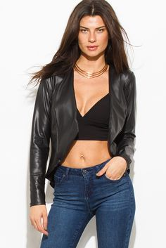 An edgy and sporty faux leather long sleeve jacket with a sexy asymmetrical open front cut.Perfect to pair with any outfit. | pinkshadebykimberly.com