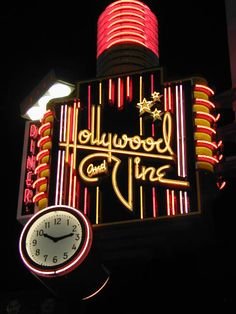 Hollywood and Vine Diner neon sign in Hollywood