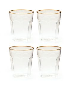 Sleek and beautiful, the Sorell Glasses feature a clean look with a simple gold rim. We love these as a bar cart addition or just drinking glasses, they are perfect for any celebration!