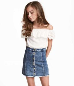 Bluzka z odkrytymi ramionami – Biały – Dziecko Girls Summer Outfits, Cute Girl Outfits, Cute Outfits For Kids, Outfits For Teens, Trendy Outfits, Fall Outfits, Teenage Outfits, Trendy Dresses, Preteen Girls Fashion