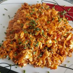 Greek mince with kritharaki - noodles from happyco .- Greek mince with Kritharaki pasta by Pasta Recipes, Crockpot Recipes, Soup Recipes, Vegetarian Recipes, Chicken Recipes, Dinner Recipes, Dessert Recipes, Cooking Recipes, Healthy Recipes
