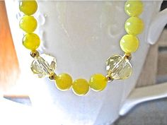 Olive Jade and Crystal Necklace - pinned by pin4etsy.com