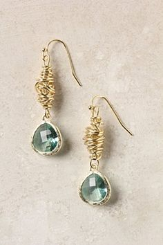 Imago Danglers by Anthropologie  18k gold plated metal and glass, 4.5cm length, 1.2cm width