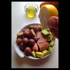 Wild Skipjack Light Tuna + 1/2 avocado + 1/2 lemon + 1 1/2 tbsp extra virgin olive oil or avocado oil + 10-12 boiled baby red potatoes ( I said simple but couldn't resist) open, cut, squeeze, drizzle and serve - See more at: http://iconosquare.com/viewer.php#/myLikes/list