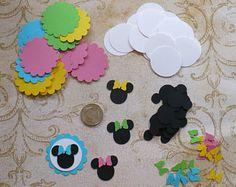20 piezas de Minnie Mouse cabeza oído Bowtique arco formas Vieira círculos cortar para manualidades bolsas etiquetas Cupcake Picks DIY niños manualidades cumpleaños partido etcetera.