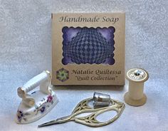 """NEW and EXCLUSIVE! Handmade soap """"Quilt Collection """", thread conditioner , pin cushion, fragrant, colorful, unique gift for a quilter Ironing Pad, Bead Organization, Craft Bags, Cute Little Things, Pet Carriers, Practical Gifts, Handmade Soaps, Hand Quilting, Miniature Dolls"""