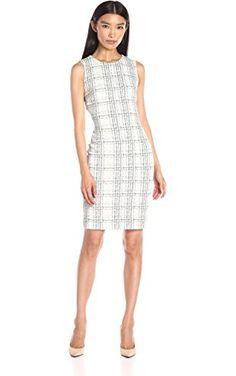 a29b3fe71a Calvin Klein Women s Grid Pattern Sheath