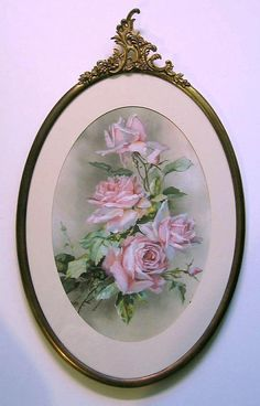Roses Print Catherine Klein Antique 1890s Brass Fancy Frame, new arrival at VictorianRosePrints on etsy.com