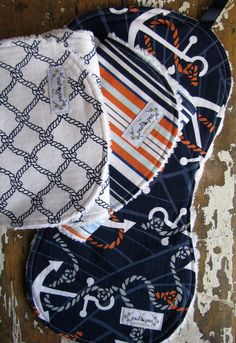 Baby Boy Burp Cloths - Set of 3 - Anchors Away Collection - Anchors, Nautical Rope Knots, Stripes.