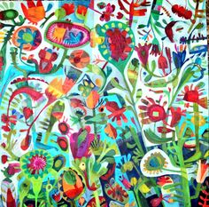 Este Macleod 'fantasy garden' acrylic on canvas.