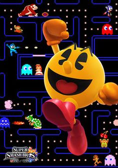 Promotional art for Pac-Man for Super Smash Bros. for Nintendo / Wii U. Super Smash Bros Brawl, Super Mario Bros, Retro Video Games, Video Game Art, Classic Video Games, Nintendo 3ds, Super Nintendo, Festa Do Pac Man, Nintendo Entertainment System