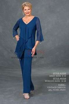 b9322b43802 Mother of the bride pant suit three quarter sleeve Royal blue chiffon  V-neck outfit
