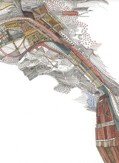 Nigel Peake - from In The Wilds Landscape Drawings, Landscape Art, Landscape Architecture, Landscapes, Architecture Site Plan, Collage Portrait, Map Design, Design Ideas, Drawing Projects