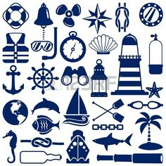 Illustration of nautical icons vector art, clipart and stock vectors. Nautical Design, Nautical Theme, Nautical Clipart, Nautical Banner, Nautical Shirt, Scan And Cut, Silhouette Projects, Silhouette Cameo, Vinyl Projects