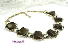 Necklace Sable Brown Thermoset gold tone Vintage Fall by Vintage55