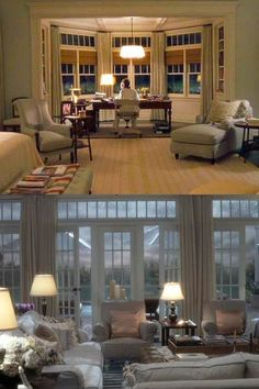 The best films to inspire your next home renovation: Something's Gotta Give (2003) In this earlier Nancy Meyers movie, set designer Beth Rubino meticulously created Diane Keaton's perfect sea-toned Hamptons beach house, complete with 3000 books shipped to the set from a New York book store.