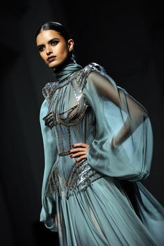 Gaultier black flowing blue aqua gown structured boning dress