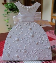 Bridal Shower Favor using Sizzix Big Shot Dress Box: with the vertical element of this favor, wouldnt the tablescape look GORGEOUS? Wedding Shower Cards, Wedding Cards, Invites Wedding, Cute Cards, Diy Cards, Dress Card, Shaped Cards, Wedding Anniversary Cards, Embossed Cards