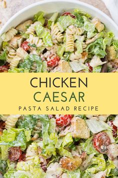 The chicken Caesar Pasta Salad is based on the Caesar salad that has become so popular for lunch. It is made with fresh seasonal vegetables, along with a light dressing made with Italian olive oil. #chicken #chickenrecipes #chickensalad #caesarsalad #caesar #caesardressing #pasta #pastalover #pastasalad #pasta🍝 #salads #saladrecipe Healthy Pastas, Healthy Cooking, Healthy Eating, Healthy Recipes, Quick Recipes, Healthy Desserts, Easy Desserts, Healthy Food, Cooking Recipes