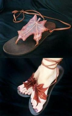 Celtic Leaf Sandals.....these are beautiful!! Maybe I'll try to make something like this, or at least the leaf added to something on shoes.