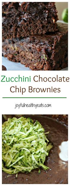 No Egg or Oil in these Zucchini Chocolate Chip Brownies but they are super moist and delicious! A dessert you will be so glad you made! | joyfulhealthyeats.com