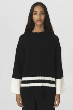 Sorthvit eller goldsort genser med vide ermer By Malene Birger - Paprikana sweater Q65661004 By, Environment