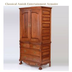Combine the best of both worlds with this Amish entertainment armoire, designed in Amish traditional furniture style with handcrafted accents. Bring your favorite pastimes to your bedroom in high style with this Amish entertainment center, elegantly hidden behind a 2 door closet so you can preserve your classical bedroom décor. Quaint and charming Amish bedroom furniture with a modern twist. #classicfurniture #armoire #entertainmentarmoire Amish Furniture, Bedroom Furniture, Bedroom Decor, Traditional Furniture, Classic Furniture, Classic Home Decor, Bedroom Storage, White Oak, Wood Species