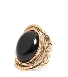 Gold and Black Oval Stone Ring , great statement piece!