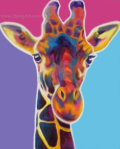 Rainbow Giraffe Animal Art Print 8x10 by Alicia VanNoy Call