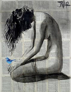 Buy Prints of a little blue, a Ink on Paper by LOUI JOVER from Australia. It portrays: Women, relevant to: louijover, jover, bird, contemporary, bookpages, nude ink collage on vintage book pages adhered together to make one sheet ready for framing as desired