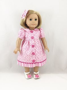 Valentine American Girl Doll Clothes 18 Inch Dolls Casual Dress and Matching Hair Bow girls toy