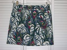 Lilly Pulitzer Skirt Size 6 Peacock Feather Green Blue Pocket Belt Loops #LillyPulitzer #StraightPencil