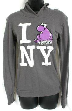 "Get it at Bad Reputation Boutique! #NerdsCandy ""I Love NY"" Light #Hoodie - Dark Gray, Purple, Long Sleeve #NewYork, Med #NextLevel #KnitTop #Casual #ILoveNY #PurpleNerds"