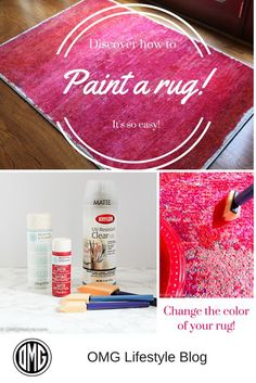 The best DIY projects & DIY ideas and tutorials: sewing, paper craft, DIY. Diy Crafts Ideas Discover how easy it is to paint a rug! Painting Carpet, Diy Painting, Painting Rugs, Diy Carpet, Rugs On Carpet, Modern Carpet, Hall Carpet, Red Carpets, Carpet Ideas
