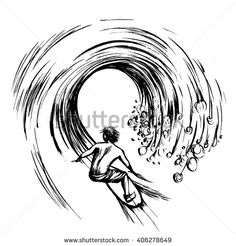 Surfer in wave brush ink sketch handdrawn serigraphy print - stock vector