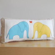 Elephant Love Pillow now featured on Fab. [Baby, Children, Kids, Kate Durkin]