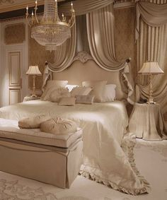 glamorous bedroom in champagne tones and chandelier