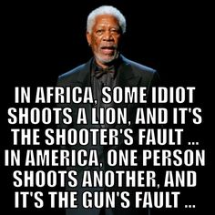 Liberal Logic: In Africa, some idiot shoots a lion and it's the shooter's fault.In America, one person shoots another and it's the guns fault. Cogito Ergo Sum, Wisdom Quotes, Me Quotes, Funny Quotes, Crazy Quotes, Badass Quotes, Great Quotes, Inspirational Quotes, Motivational Quotes