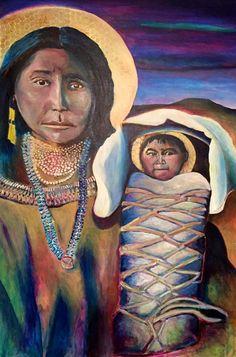 Apache Madonna and Child, Acrylic, Artist: David Bondt