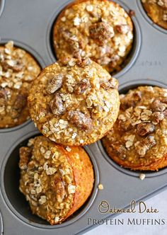 Oatmeal Date Protein Muffins : Healthy Breakfast Ideas you will love. Easy to make - mix, bake, enjoy! on kleinworthco.com #DoMoreWithProtein #ad @EASBrand