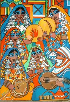 """Beautiful paintings of Algerian women by Algerian painter Ahmed Salah Bara - ), whose style is a mix of naïve art and neo-orientalist art which makes it unique. Palestine Art, Klimt Art, Arabian Art, Mother Art, Historical Art, Egyptian Art, Elements Of Art, Tile Art, Art Logo"