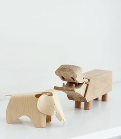 Hippo by Kaj Bojesen and Miniature Plywood Elephant by Eames